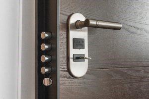 A lock on a door