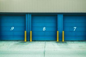 Blue doors on a storage