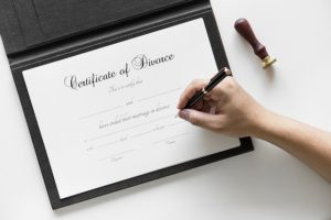 Signing the divorce papers