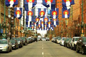 Flags in Larimer Street, Denver