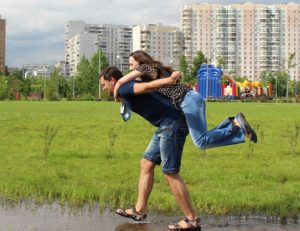 Couple playing.