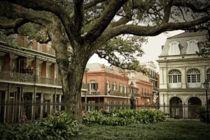 The beautiful French Quarter. Pictured are some buildings made in the Spanish style, as well as a large tree that's at the forefront of the image.