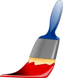 a brush with red paint