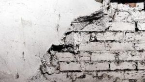 Half ruined wall waiting for renovation.