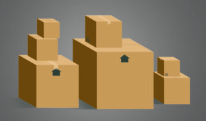 Moving boxes in various sizes.