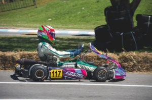 Person driving a go-kart