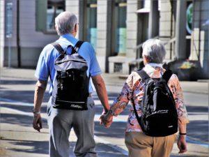 Two seniors walking - senior relocation