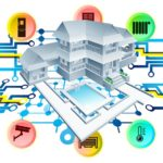 Illustration of a home and all smart home features in it.
