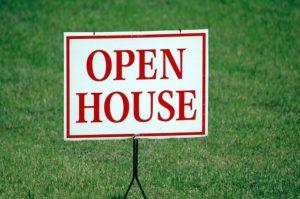 An 'open house' sign.