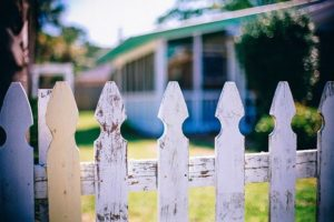 A fence between two houses.