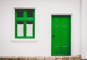 Green door and window.
