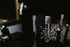 A microphone in a music studio.