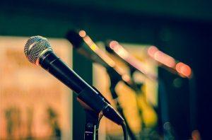 a microphone in a studio space