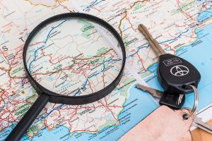 Magnifying glass and the keys on the map