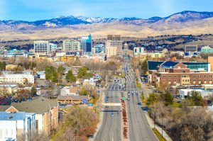 A street in Boise, the Idaho capital in the vicinity of one of the rural places in Idaho.