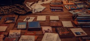 Collection of books on a table